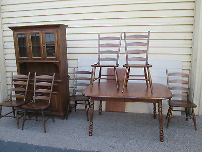 """58563  MOOSEHEAD Dining Room Set China Table w/ leaf + 6 Chair s Table 78"""" x 40"""