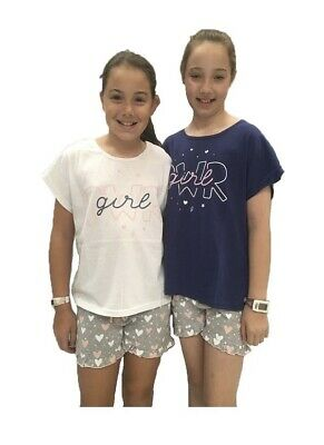 Girls PJs Size 8-14 Summer Short Sleeve Pyjamas White or Navy Girl Power (726)