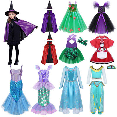 Girls Princess Mermaid Fancy Dress Baby Kid Witch Halloween Party Cosplay Outfit