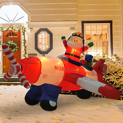 8'L Christmas Inflatable Santa Flying A Plane Airblown Animated Yard Decorations
