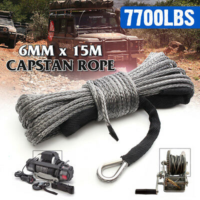 15mx6mm Winch Rope Synthetic 7700lbs Line Cable Car Strap 4WD AVT Boat Recovery