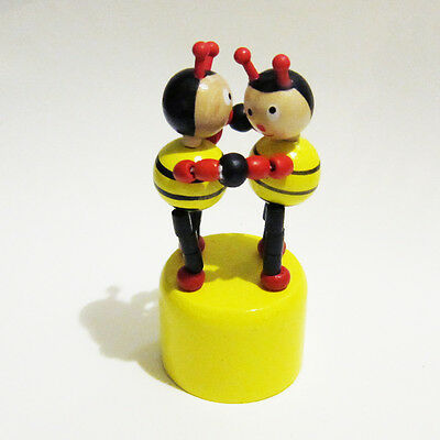 Classic Wooden Toy Push Puppet Dancing BUMBLEBEES Dance Yellow Black Red Bee