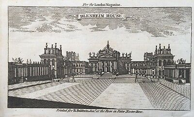 1760 Antique Print; Blenheim Palace, near Woodstock, Oxfordshire
