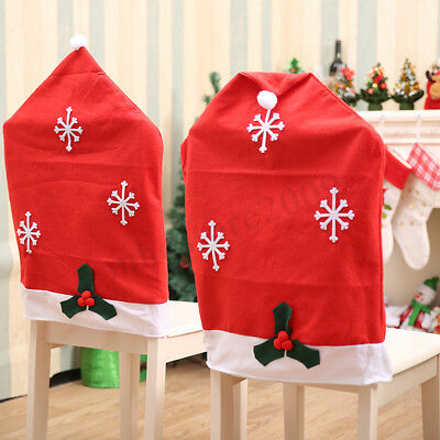 Christmas Chair Back Cover Santa Claus Elk Snowman Gift Dinner Party Decoration