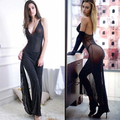 Womens Sexy Lace See Through Long Tops Cover Up Lingerie Nightwear Dress Gown UK