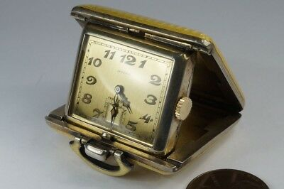 ART DECO SWISS SILVER ENAMEL JUVENIA FOLDING TRAVEL POCKET WATCH c1930's