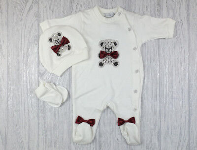 Baby Boys Girls Romany Diamante Teddy Ivory & Wine Red Babygrow Romper Outfit