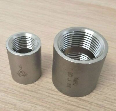 "Stainless Steel 304 Fitting 1"" Inch Full Coupling Class 150 Heavy Duty"