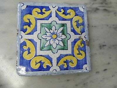 "(A) Antique 6"" square decorative tile . looks terracotta , Free postage ."
