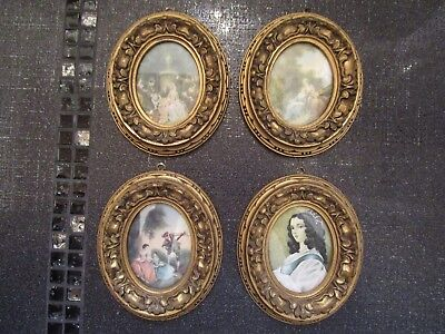 VINTAGE Lot Of 4 Victorian Gold-Tone Ornate Frames w/Glass And Prints