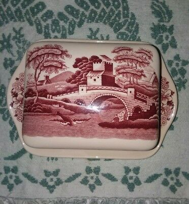 Spode Tower England Square Butter Dish-  Pink Transferware- Rare