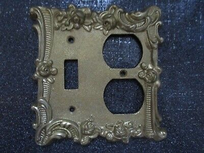 VINTAGE EDMAR Made in JAPAN Gold Ornate Single Switch Duplex Outlet Plate Cover