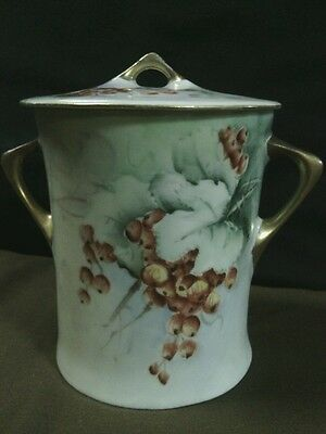 Antique Cacilie JR Bavaria Porcelain Hand Painted Grape Vine Milk Holder