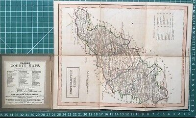 1830 Antique Folding Pocket County Map of Northamptonshire - Chapman & Hall