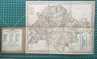 1830 Antique Folding Pocket County Map of Huntingdonshire - Chapman & Hall
