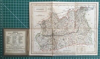 1830 Antique Folding Pocket County Map of Surrey - Chapman & Hall