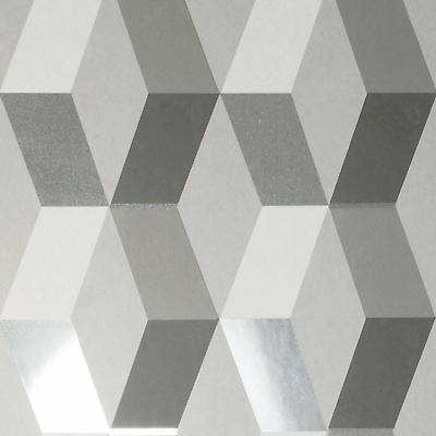 Crown Luxe Mayfair Hatton Geometric Wallpaper Rolls Grey Silver - M1470