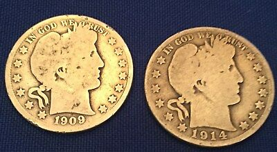 Lot of two 1909 P and 1914 S Barber Silver Half Dollars