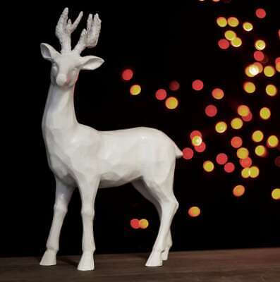 Large Standing Reindeer Stag Ornament White Christmas Winter Decor Shabby Chic