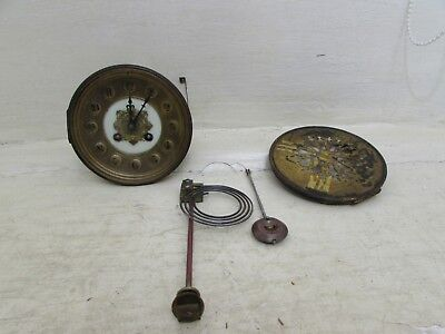 Antique Japy Freres Med D'Honneur Clock Movement With Face, Pendulum & Hands