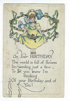 On Your Birthday - Vintage Postcard
