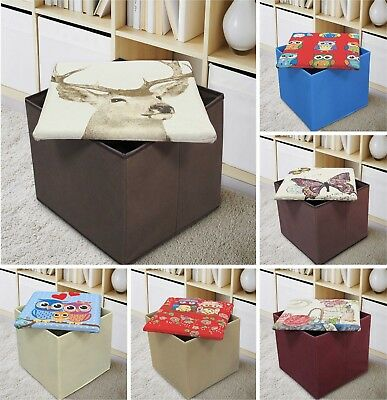Large Square Storage Box Pouffe Ottoman Tapestry Foot Stool Seat Bench Toy Box