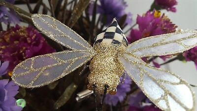 New Rare! Mackenzie Childs Courtly Check Bumble Bee Clip Ornament Retired
