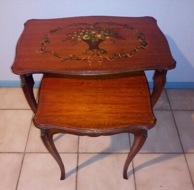 Beautiful Antique Oak French Nesting Tables w/ Floral Painting Local Pickup Only