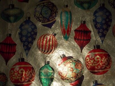 VTG CHRISTMAS ORNAMENTS 1960s WRAPPING PAPER GIFT WRAP MCM FOIL SHIMMERS