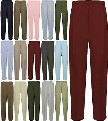 Women Half Elasticated Waist Plain 2 Pocket Pant Ladies Full Length Trousers Lot