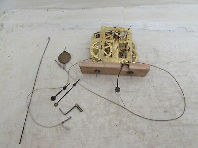 Antique 30hr American Ogee Wall Clock Movement, With Pendulum Hands & Key