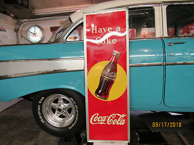 Vintage 1948 Coca Cola Sign w/ Bottle