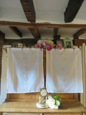 Delightful Pair Of White Vintage French  Curtain Panels ~ Country Cottage