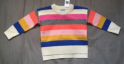 Toddler Girl 12-18 Month Baby Gap Multicolored Striped Knit Crew Sweater
