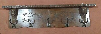 Vintage/Antique Beautiful French Solid Hand Carved Oak Coat Rack 5 Hooks Shelf