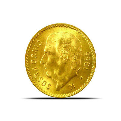 Mexico 5 Peso Gold Coin (0.12057 oz) Random Years Extremely Fine (XF) or Better