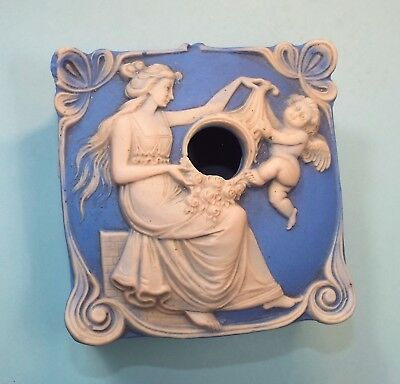 Antique Art Nouveau Bisque Hair Receiver, Blue & White Jasperware, Woman Cherub