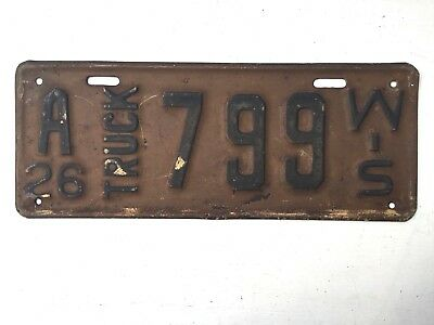 Wisconsin 1926 Antique Truck Old License Plate Garage Vtg Car Auto Rustic Decor