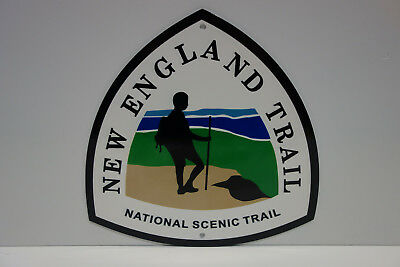 New England National Scenic Trail Baked Enamel Sign. Mint Nos. Heavy Outdoor.