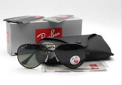 8121506535 New Ray-Ban RB3025 002 58 Black Green Classic G-15 Polarized Aviator