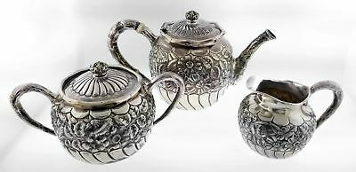 Antique 1890 Gorham Sterling Silver Floral Repousse Coffee Tea Set Of 3 Mono