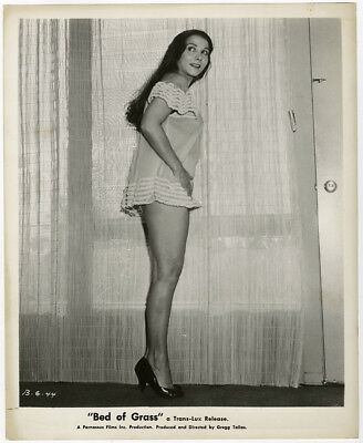Vintage 1957 Anna Brazzou Risqué Lingerie Pin-Up Photograph For Bed of Grass