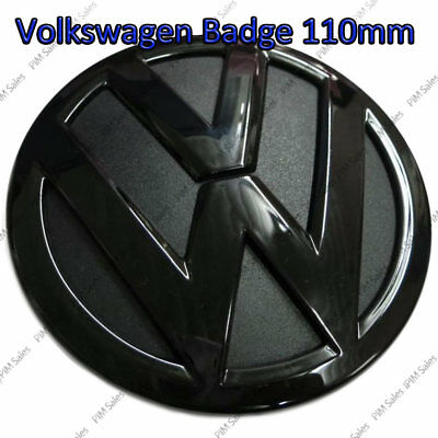 VW Volkswagen Rear Black Glossy Badge Logo Boot Rear Emblem Sticker Glue 110mm