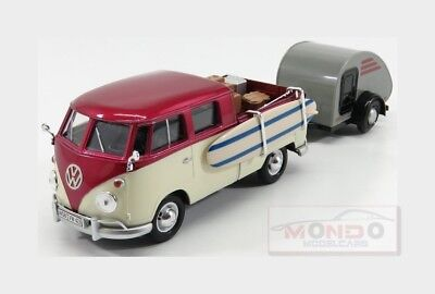 Volkswagen T2 Double Cabine With Trailer 1962 Red Cream MOTORMAX 1:24 MTM79673