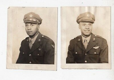 2 lot  WWII War Military Photo Black US Soldier In Uniform African American B/W
