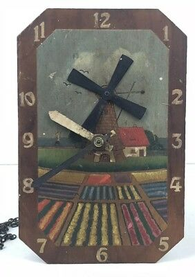 Vintage / Antique Wooden Arts & Crafts Mechanical Clock / Hand Made /Mill Design