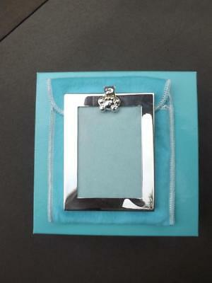 """Tiffany Sterling Silver Baby Picture Frame 2x3"""" Photo 3.75x3"""" Frame Box Dust Bag"""