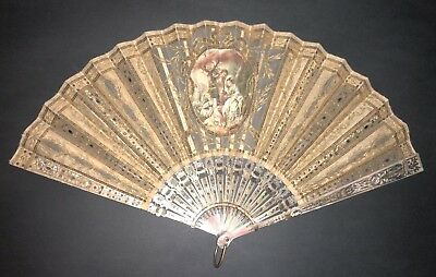 Beautiful Antique French Gold Silver Inlay Mother Of Pearl Hand Painted Silk Fan