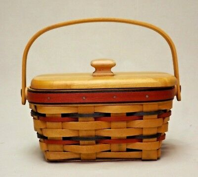 Longaberger 1997 All American Patriot Basket with Lid and Divided Protector