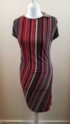 BNWT New Marva Dress UK Size 12 Ladies Womens Red Black Striped Summer Holiday